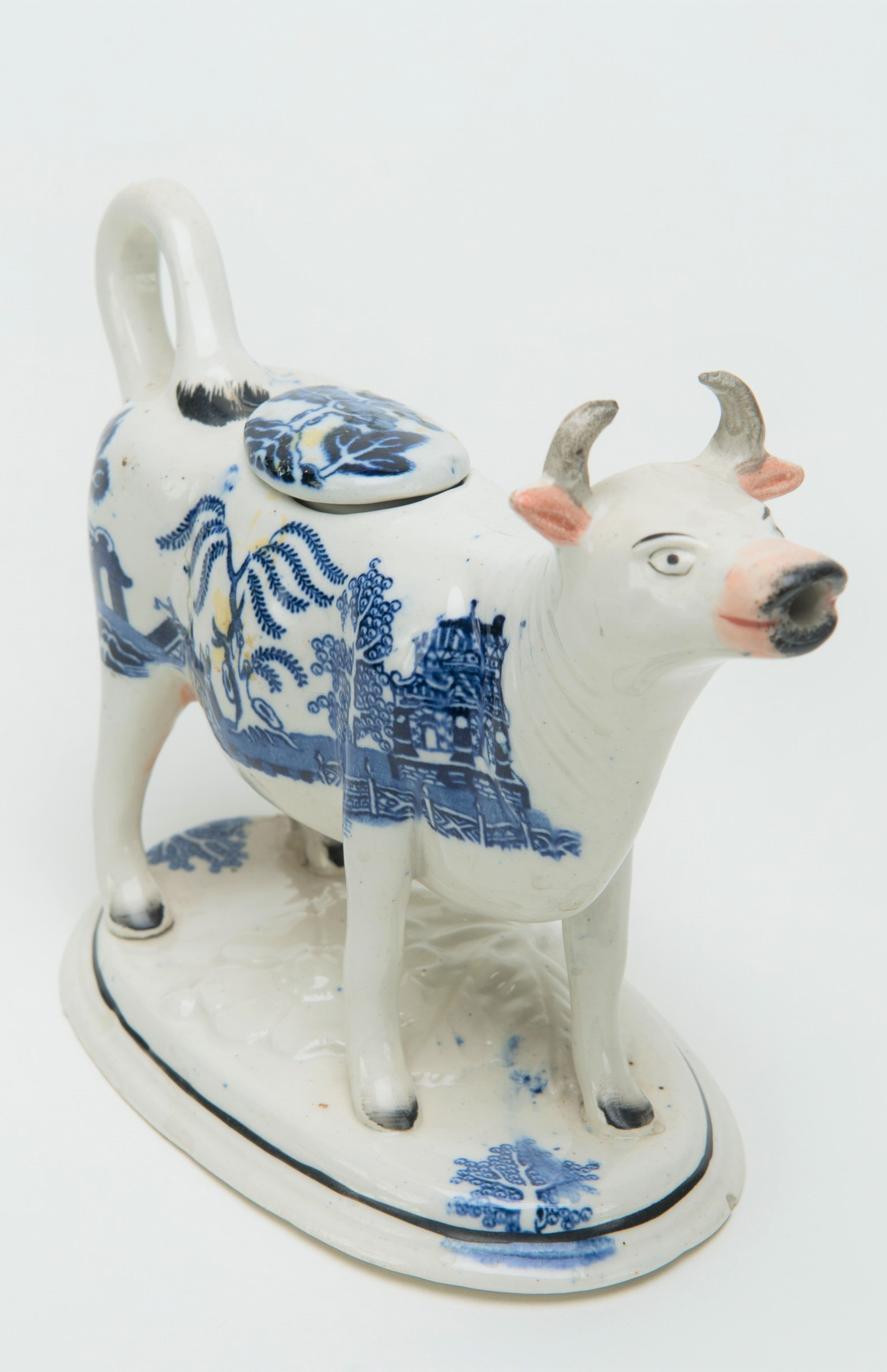 Cow Creamer, Staffordshire, c. 1790. Earthenware with blue transfer decoration. Permanent Collection, Chapel Art Center.
