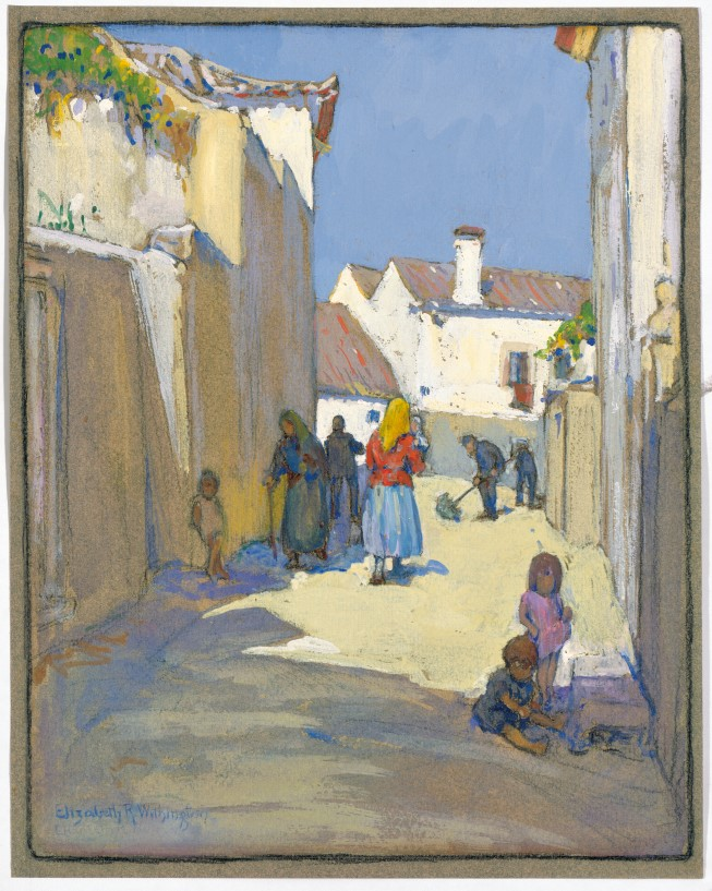 Elizabeth Withington, Street Scene, early 20th century. Gouache on dark blue paper. Permanent Collection, Chapel Art Center.