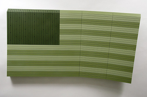 Nick Hollibaugh, Field, 2010. Acrylic on ash wood. 40 x 72 x 12 inches. Image courtesy Cade Tompkins Projects.