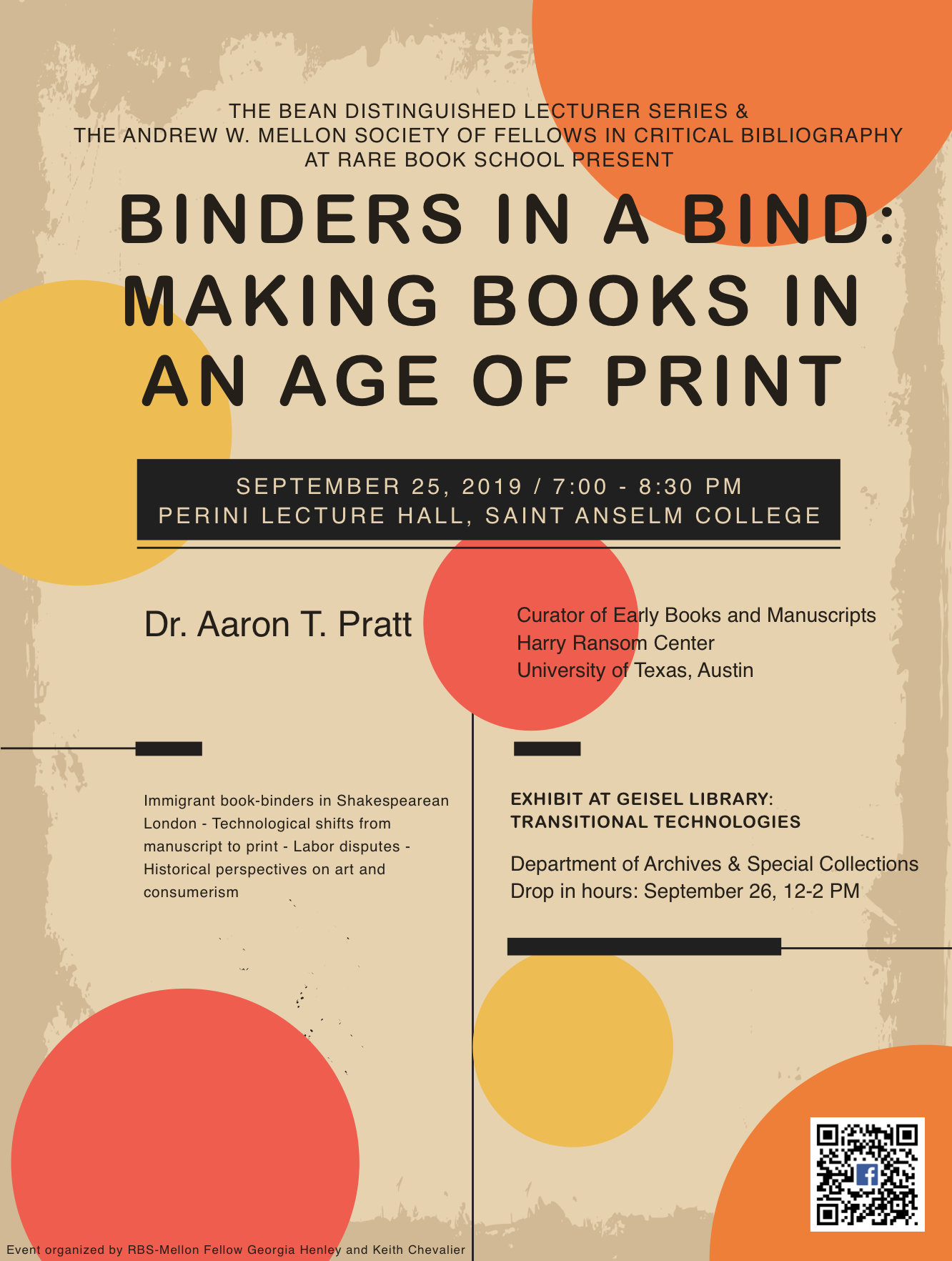 Binders in a Bind lecture promotional poster