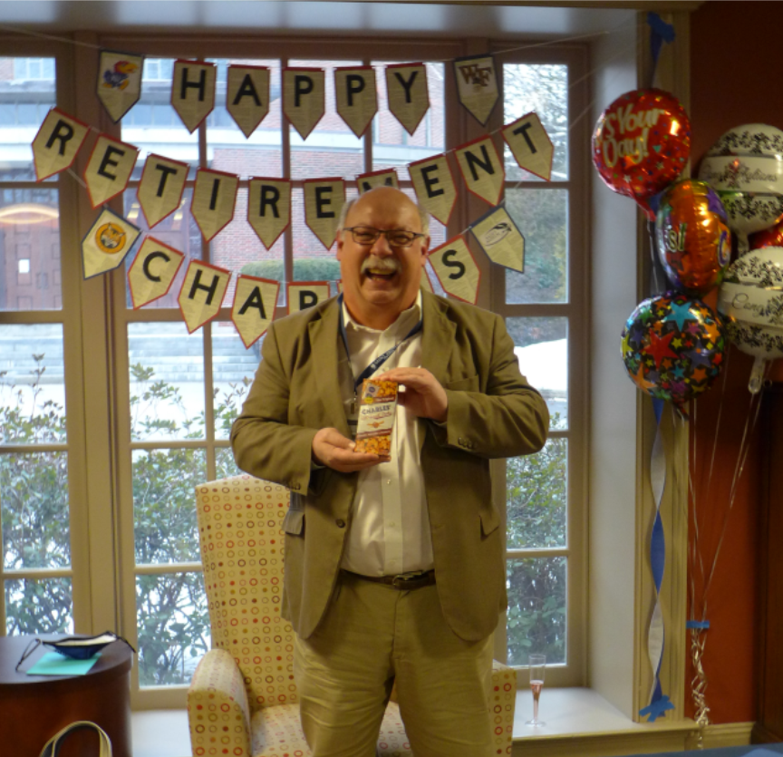 Charles Getchell at his retirement party