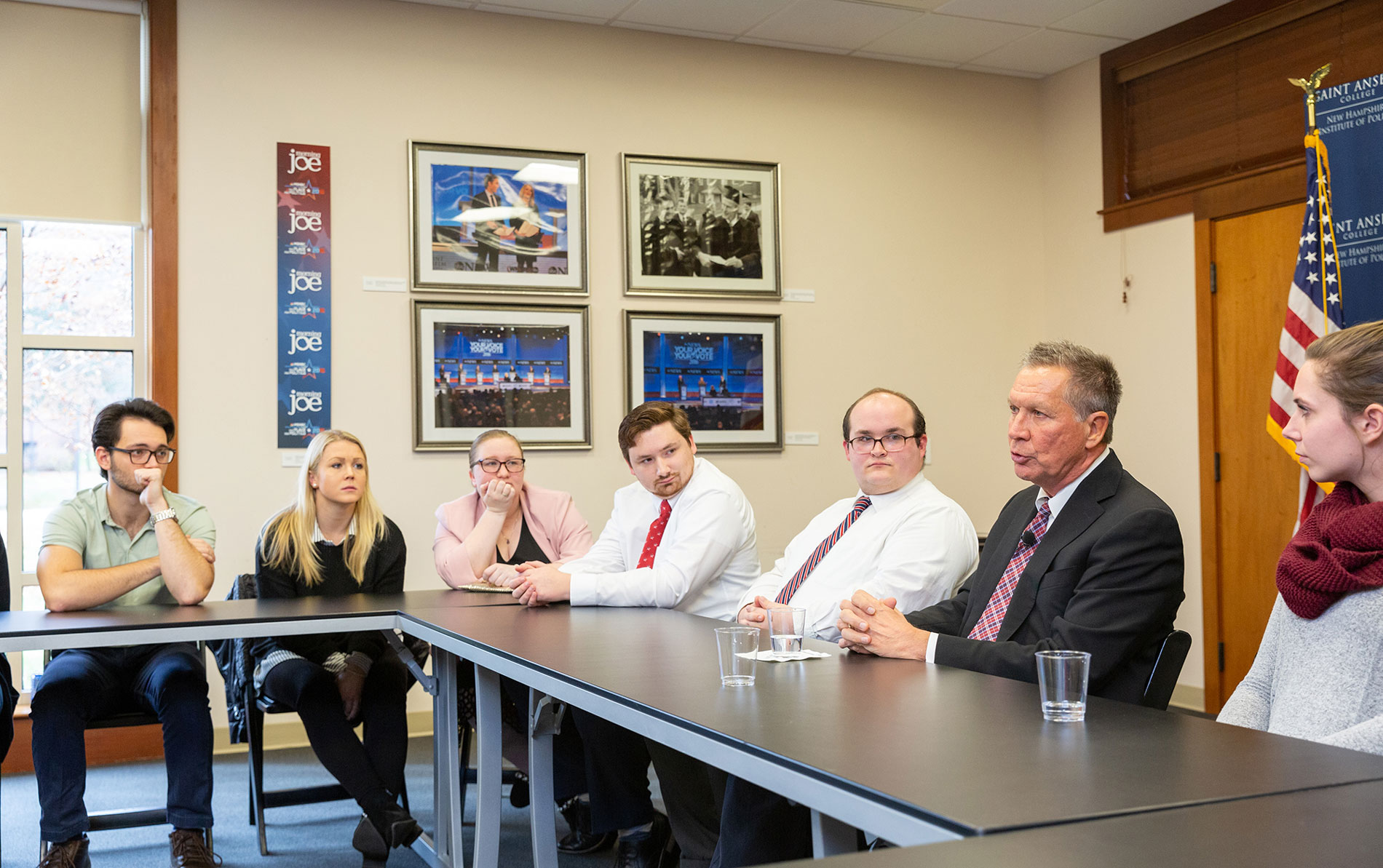 John Kasich speaks with students
