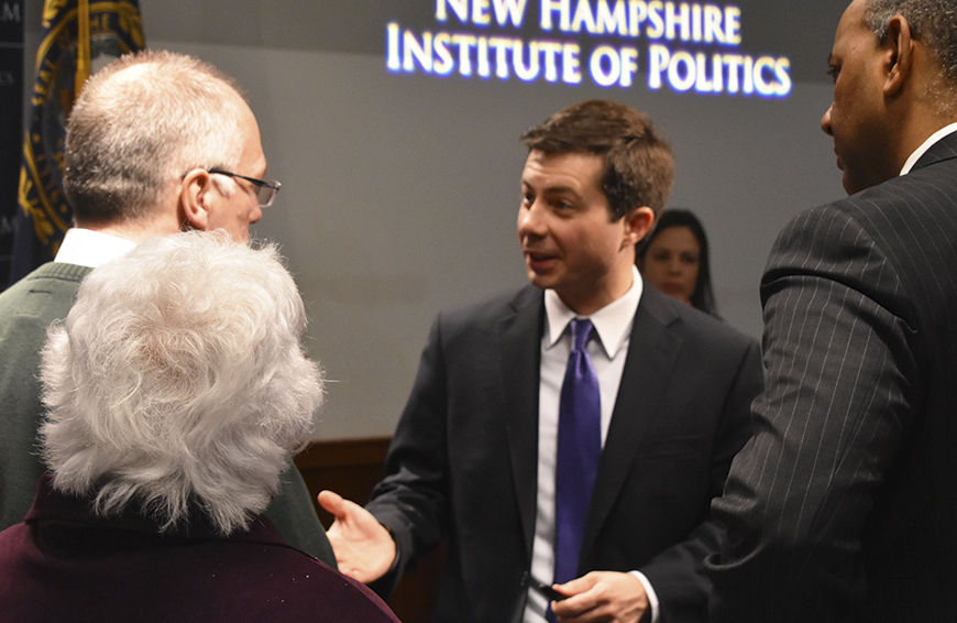 Mayor Pete talks with guests at Politics & Eggs