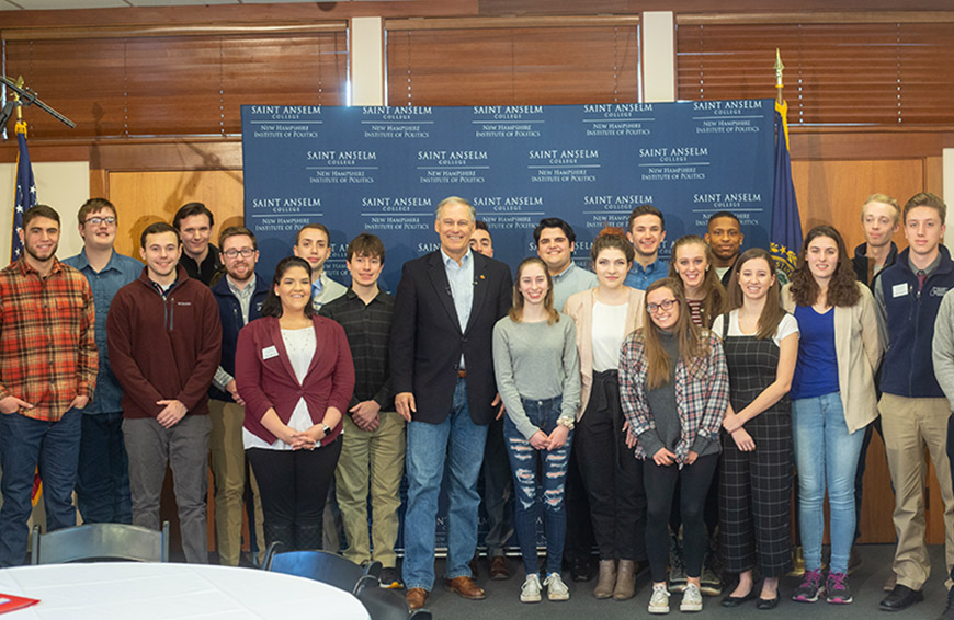Washington Governor Jay Inslee visits with Students