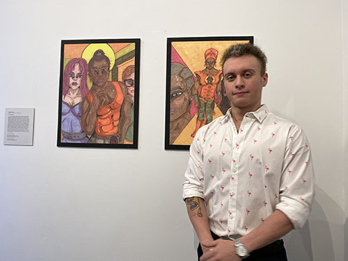 Anthony Floramo with his exhibit