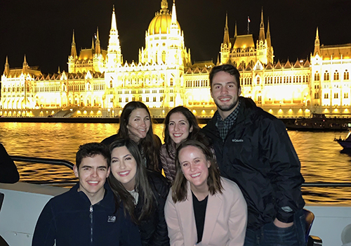Saint Anselm students in front of the Budapest Parliament building