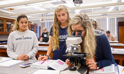 students working on a lab project