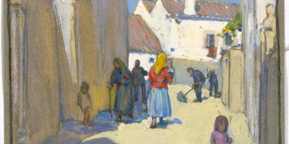 Mid 20th Century Watercolour Precise J Coffey View Of Village Church Elegant Appearance